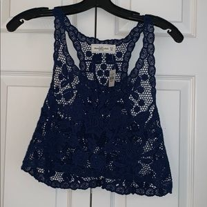 Blue embroidered crop top